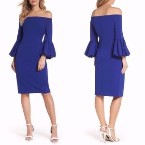 ELIZA J Off the Shoulder BLUE Bell Sleeve DRESS 2